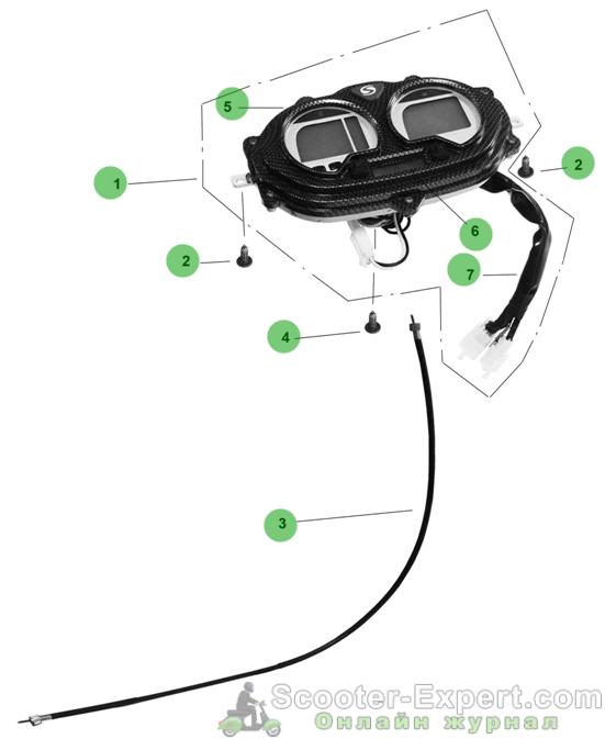 Устройство цифровой приборной панели скутера