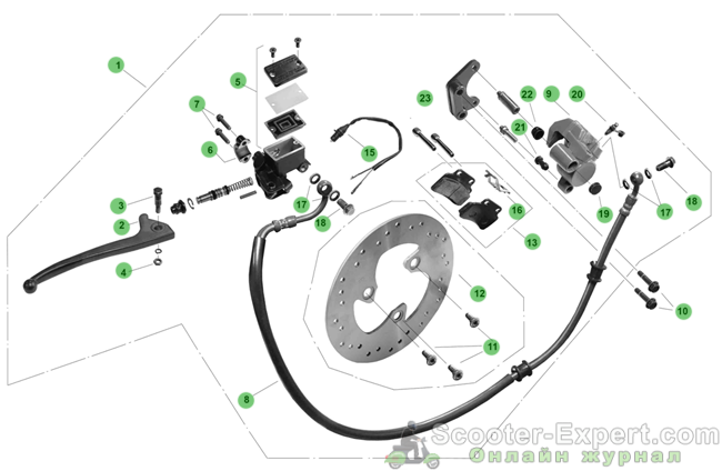 Устройство дискового тормоза скутера